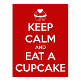 Houd Kalm en eet een Rood Cupcake Briefkaart