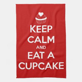 Houd Kalm en eet een Rood Cupcake Keuken Handdoek