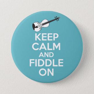 Houd Kalm en Fiddle op Viool op Blauw Ronde Button 7,6 Cm