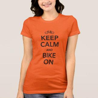 Houd Kalm en Fiets, zwart ontwerp T Shirt