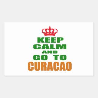 Houd kalm en ga naar Curacao. Rechthoekige Sticker