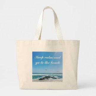 Houd kalm en ga naar het strandCanvas tas