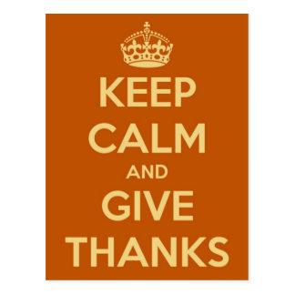 Houd Kalm en geef Bedankt Oranje Briefkaart