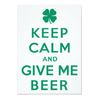 Houd Kalm en geef me Bier 12,7x17,8 Uitnodiging Kaart