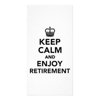 Houd kalm en geniet van pensionering fotokaart sjabloon