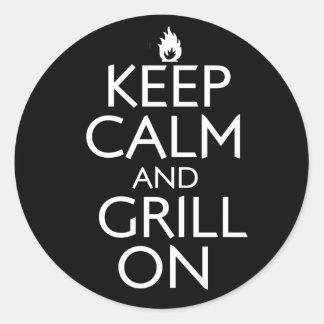 Houd Kalm en Grill Ronde Sticker
