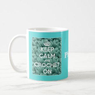 Houd Kalm en haak op Blauw Koffiemok