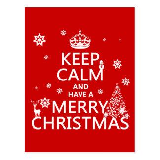 Houd Kalm en hebben Vrolijke Kerstmis Briefkaart