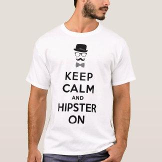 Houd kalm en hipster t shirt
