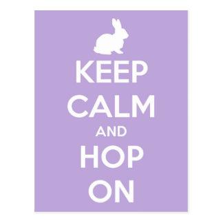 Houd Kalm en Hop op Lavendel en Wit Briefkaart