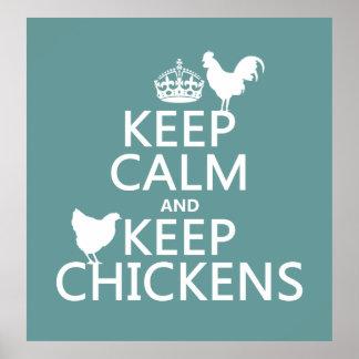 Houd Kalm en houd Kippen (om het even welke Poster