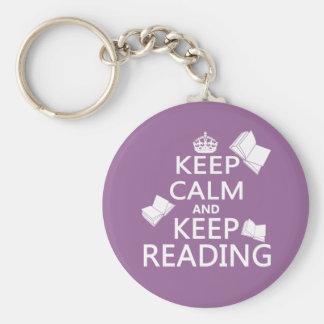 Houd Kalm en houd lezend Sleutelhanger