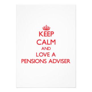 Houd Kalm en houd van een Adviseur van Pensioenen Aankondiging