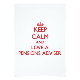 Houd Kalm en houd van een Adviseur van Pensioenen 12,7x17,8 Uitnodiging Kaart