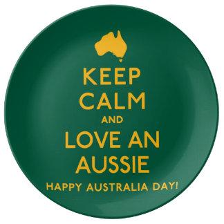 Houd Kalm en houd van een Aussie! Porselein Bord