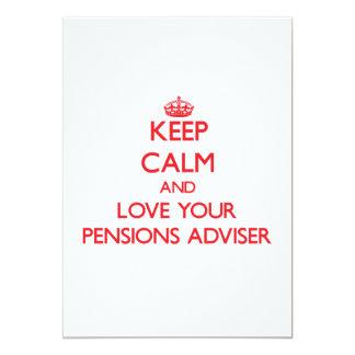 Houd Kalm en houd van uw Adviseur van Pensioenen 12,7x17,8 Uitnodiging Kaart