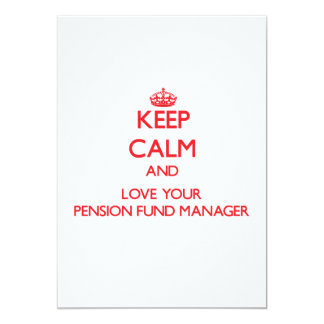 Houd Kalm en houd van uw Manager van het Fonds van 12,7x17,8 Uitnodiging Kaart