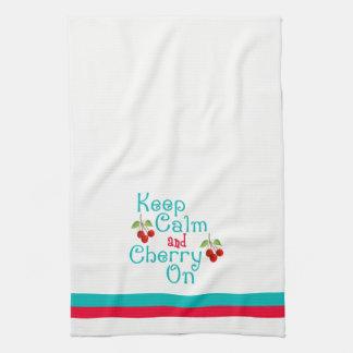 Houd Kalm en Kers op de Handdoek van de Keuken