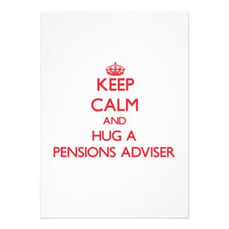 Houd Kalm en koester een Adviseur van Pensioenen Custom Uitnodigingen