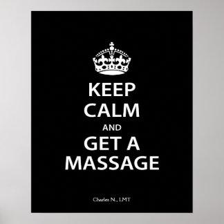 Houd Kalm en krijg een Massage Poster