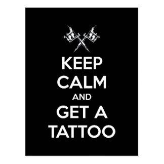 Houd kalm en krijg een tattoo briefkaart