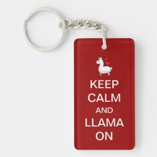 Houd Kalm en Lama op Keychain Sleutelhanger