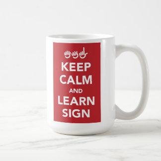 Houd kalm en leer tekenmok koffiemok