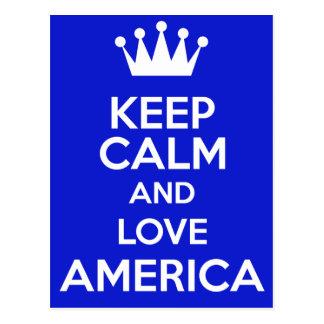 houd kalm en liefde Amerika Briefkaart
