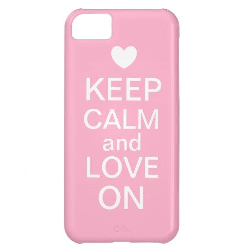 Houd Kalm en Liefde op het Geval van de Telefoon iPhone 5C Hoesjes