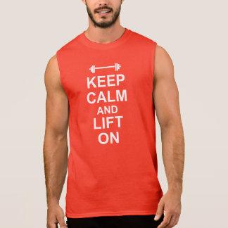 HOUD KALM EN LIFT OP het Rode Sleeveless Overhemd T Shirt