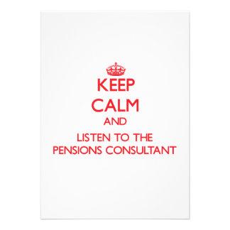 Houd Kalm en luister aan de Adviseur van Pensioene Persoonlijke Aankondiging