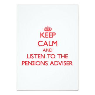 Houd Kalm en luister aan de Adviseur van Pensioene Persoonlijke Uitnodigingen