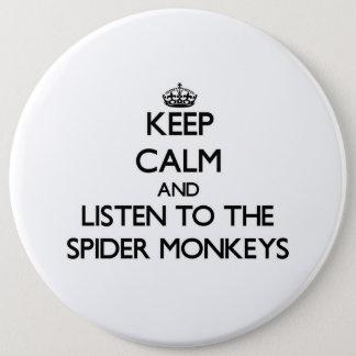 Houd kalm en luister aan de Apen van de Spin Ronde Button 6,0 Cm