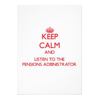 Houd Kalm en luister aan de Beheerder van Pensioen Uitnodigingen