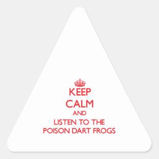 Houd kalm en luister aan de Kikkers van het Driehoekige Stickers