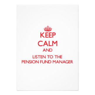 Houd Kalm en luister aan de Manager van het Fonds  Persoonlijke Aankondigingen