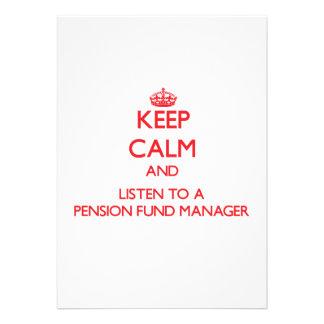 Houd Kalm en luister aan een Manager van het Fonds Aankondigingen