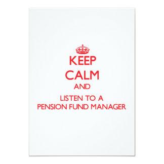 Houd Kalm en luister aan een Manager van het Fonds 12,7x17,8 Uitnodiging Kaart