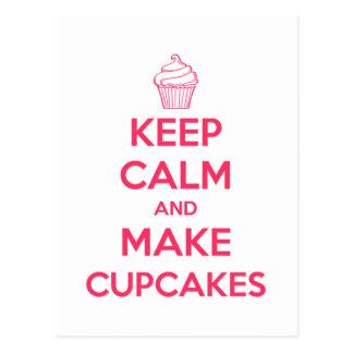Houd kalm en maak cupcakes briefkaart