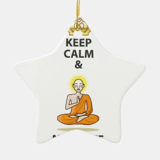Houd Kalm en mediteer de Vector Gouden Kroon van Keramisch Ster Ornament