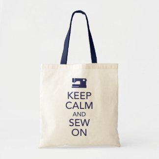Houd Kalm en naai bij het Canvas tas van de Marine