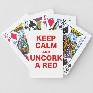 Houd Kalm en ontkurk een Rood Bicycle Speelkaarten