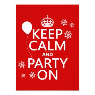 Houd Kalm en Partij - alle kleuren Uitnodigingen
