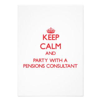 Houd Kalm en Partij met een Adviseur van Pensioene Custom Uitnodigingen
