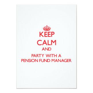 Houd Kalm en Partij met een Manager van het Fonds 12,7x17,8 Uitnodiging Kaart