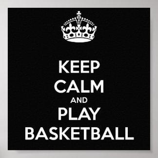 Houd Kalm en speel Basketbal Poster