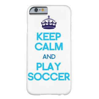 Houd Kalm en speel (Blauw) Voetbal Barely There iPhone 6 Hoesje