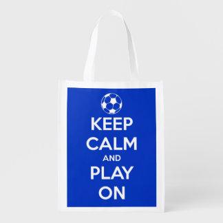 Houd Kalm en speel op Blauw en Wit Voetbal Boodschappentas