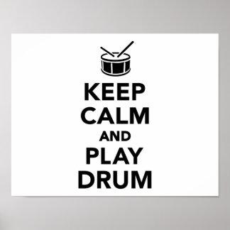 Houd kalm en speel trommel poster