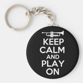 Houd Kalm en speel (Trompet) Sleutelhanger